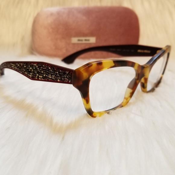 f6f2274a337e Miu Miu Eyeglasses Tortoise Rhinestones Havana53mm